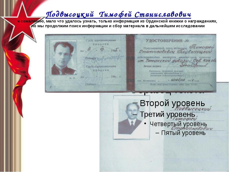 Подвысоцкий Тимофей Станиславович к сожалению, мало что удалось узнать, тольк...