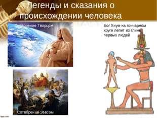 Легенды и сказания о происхождении человека Бог Хнум на гончарном круге лепит