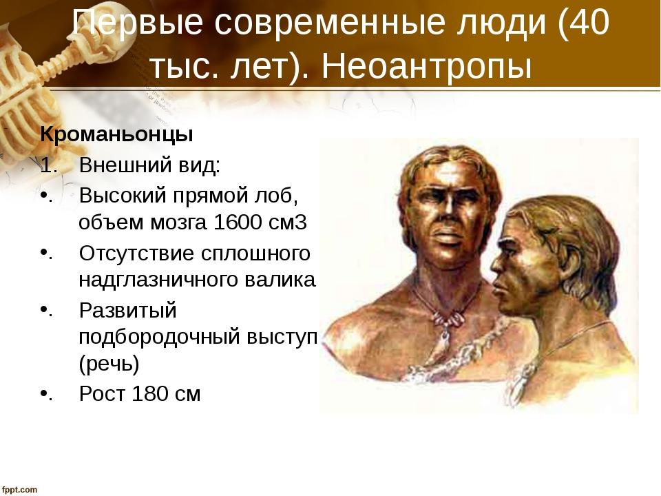 Первые современные люди (40 тыс. лет). Неоантропы Кроманьонцы Внешний вид: Вы...