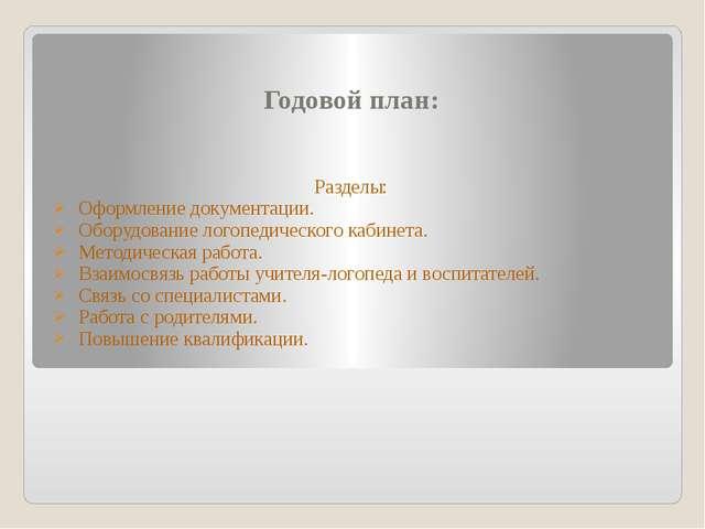 Годовой план: Разделы: Оформление документации. Оборудование логопедического...