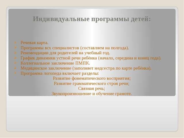 Индивидуальные программы детей: Речевая карта. Программы всх специалистов (со...