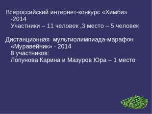 Всероссийский интернет-конкурс «Химби» -2014 Участники – 11 человек ,3 место