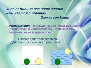 Эксперимент: В сосуде на дне лежат два шарика (из пластилина и плексигласа).
