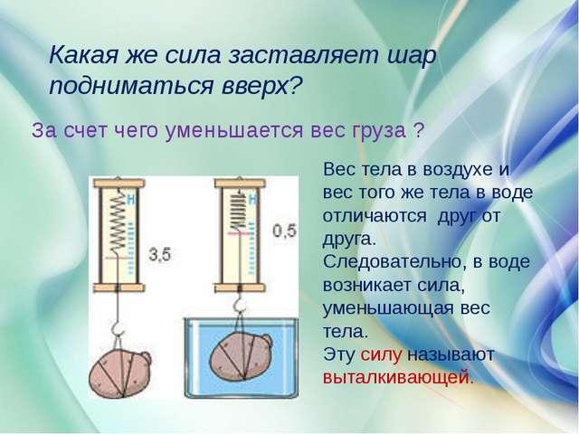 Какая же сила заставляет шар подниматься вверх? За счет чего уменьшается вес...