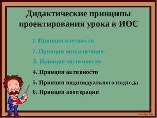 Дидактические принципы проектирования урока в ИОС Принцип научности 2. Принци