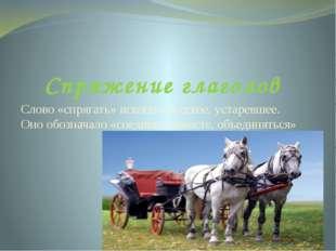 Спряжение глаголов Слово «спрягать» исконно русское, устаревшее. Оно обознача