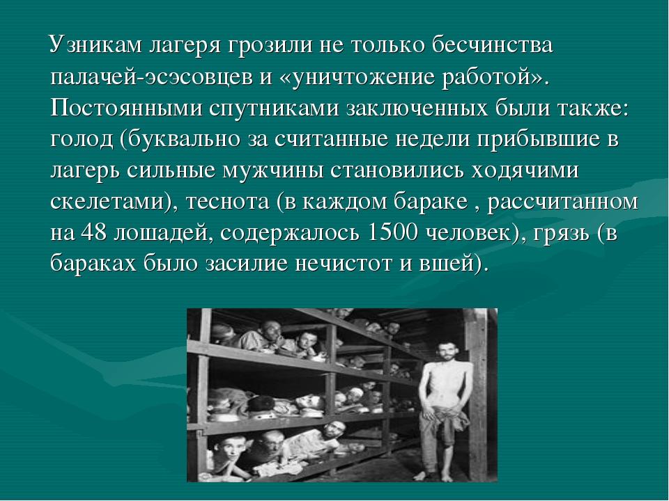 Узникам лагеря грозили не только бесчинства палачей-эсэсовцев и «уничтожение...