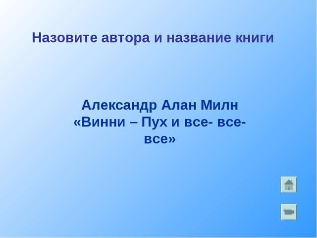 Александр Алан Милн «Винни – Пух и все- все- все» Назовите автора и название...