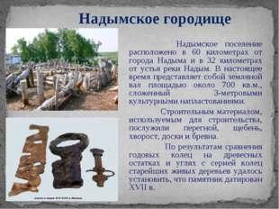 Надымское поселение расположено в 60 километрах от города Надыма и в 32 кило