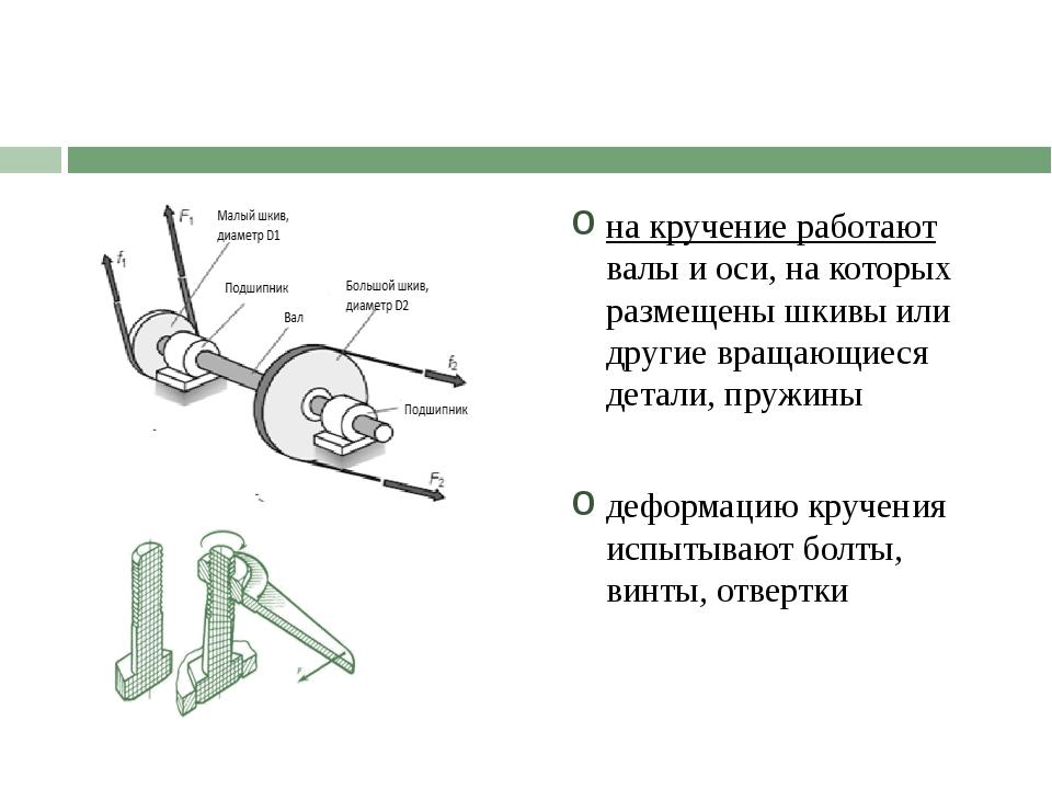 на кручение работают валы и оси, на которых размещены шкивы или другие вращаю...