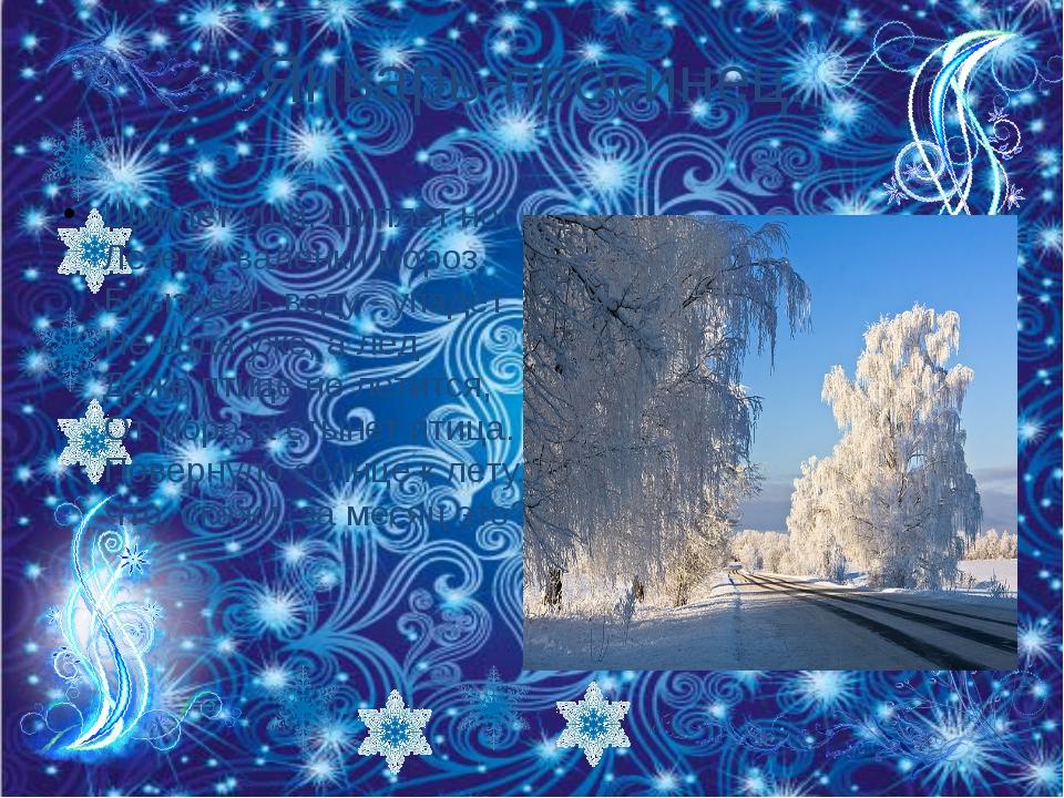 Январь-просинец. Щиплет уши, щиплет нос, Лезет в валенки мороз. Брызнешь воду...