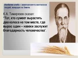 """К.А. Тимирязев сказал: """"Тот, кто сумеет вырастить два колоса на том месте, г"""