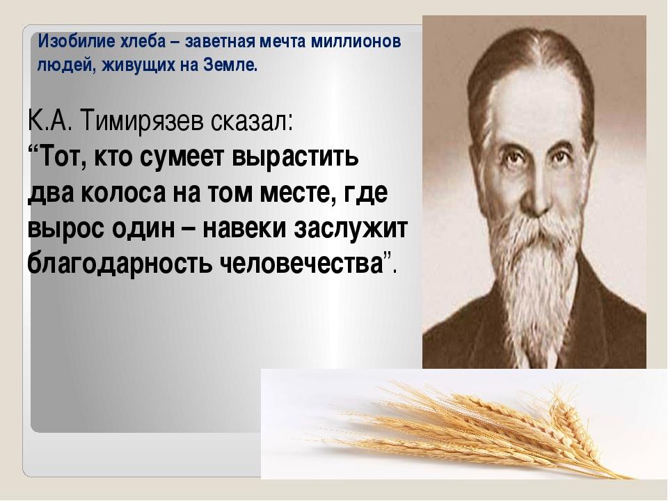 """К.А. Тимирязев сказал: """"Тот, кто сумеет вырастить два колоса на том месте, г..."""