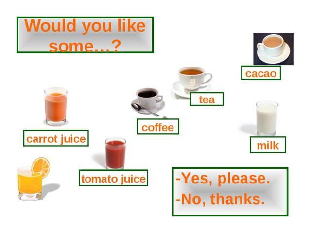 Would you like some…? -Yes, please. -No, thanks. tomato juice coffee tea milk...
