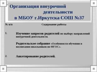 Организация внеурочной деятельности в МБОУ г.Иркутска СОШ №37 № п/пСодержани