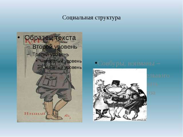 Социальная структура Совбуры, нэпманы – Лишены избирательного права, не могут...
