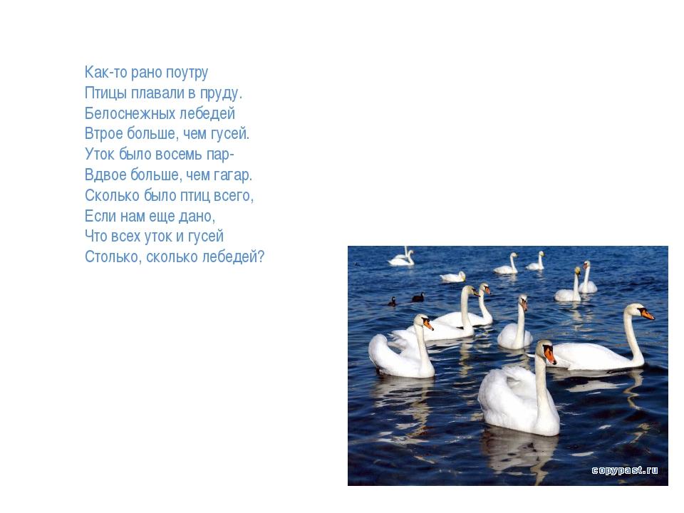 Как-то рано поутру Птицы плавали в пруду. Белоснежных лебедей Втрое больше...