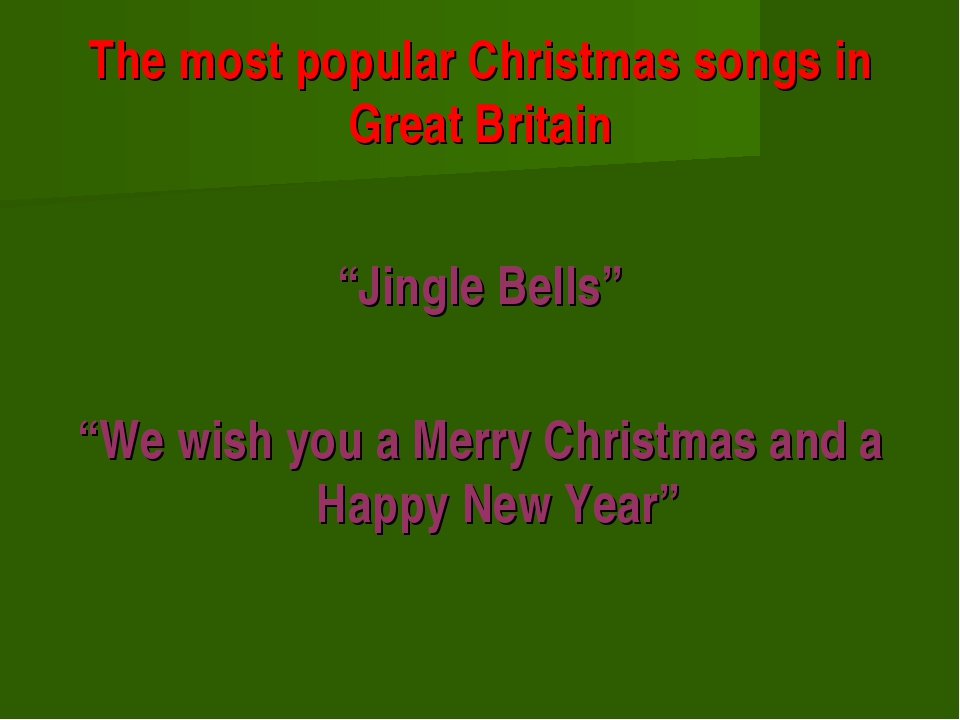 """The most popular Christmas songs in Great Britain """"Jingle Bells"""" """"We wish you..."""