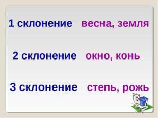 1 склонение весна, земля 2 склонение окно, конь 3 склонение степь, рожь