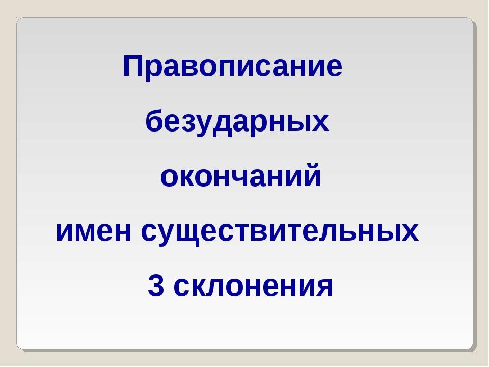 Правописание безударных окончаний имен существительных 3 склонения