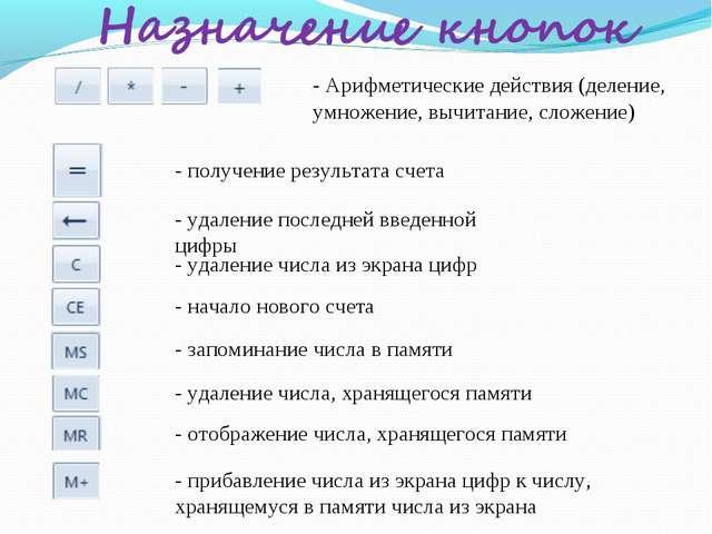 - Арифметические действия (деление, умножение, вычитание, сложение) - получен...