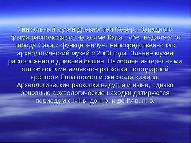 Уникальный музей древностей Северо-Западного Крыма расположился на холме Кар...