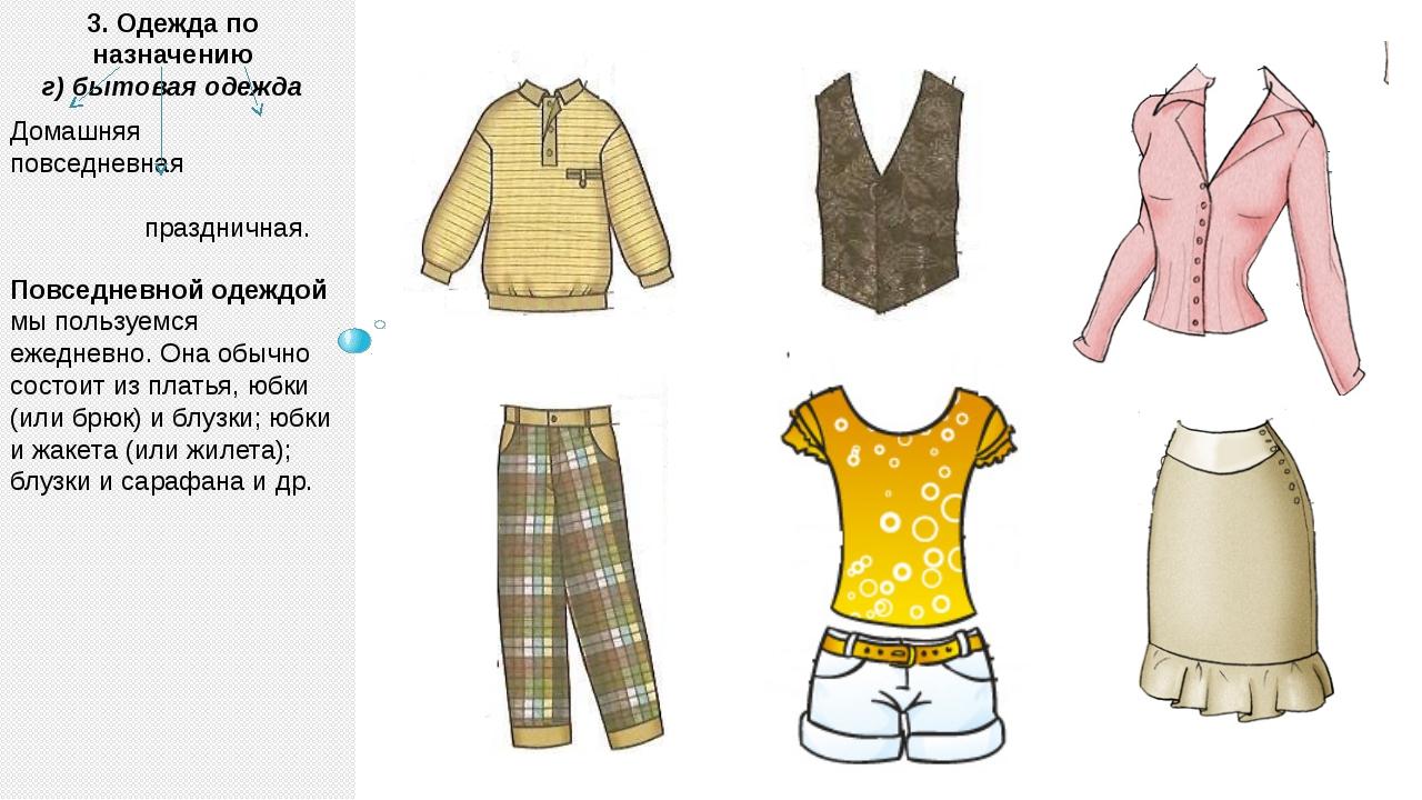 3. Одежда по назначению г) бытовая одежда Повседневной одеждой мы пользуемся...