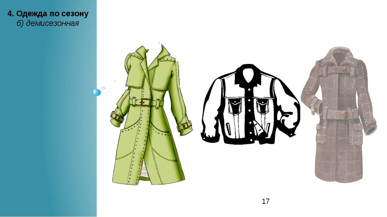 4. Одежда по сезону б) демисезонная