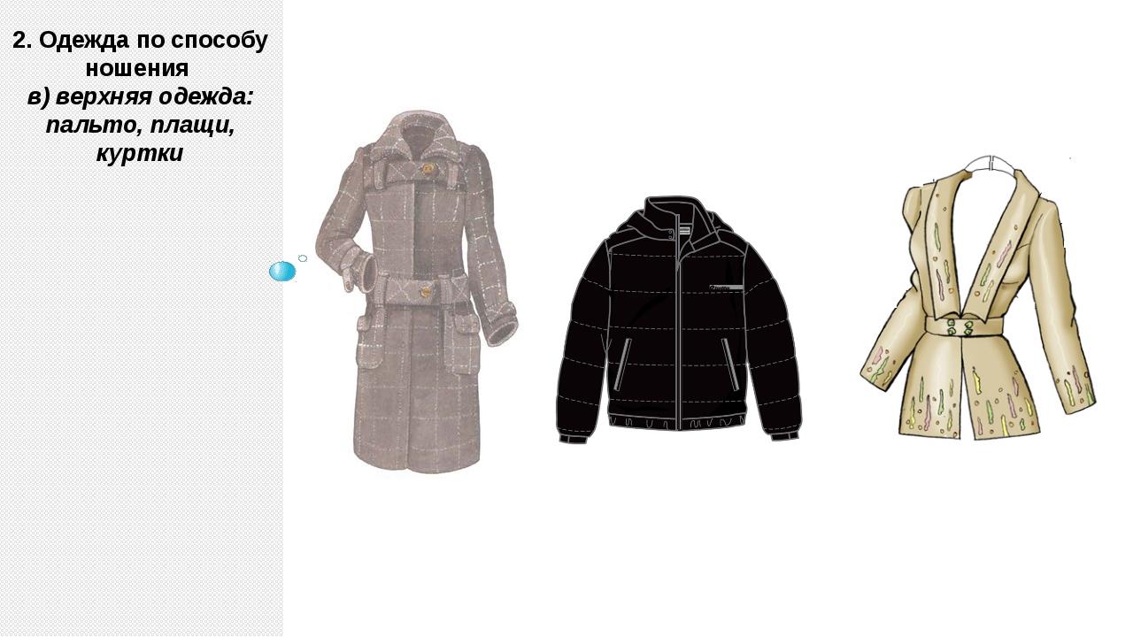 2. Одежда по способу ношения в) верхняя одежда: пальто, плащи, куртки