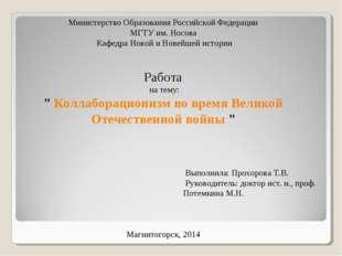 Министерство Образования Российской Федерации МГТУ им. Носова Кафедра Новой