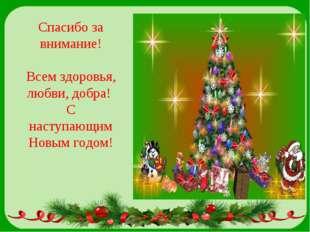Спасибо за внимание! Всем здоровья, любви, добра! С наступающим Новым годом!