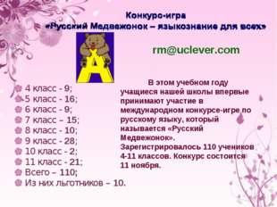 4 класс - 9; 5 класс - 16; 6 класс - 9; 7 класс – 15; 8 класс - 10; 9 класс