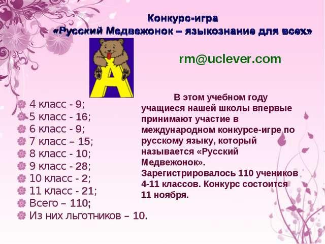 4 класс - 9; 5 класс - 16; 6 класс - 9; 7 класс – 15; 8 класс - 10; 9 класс...