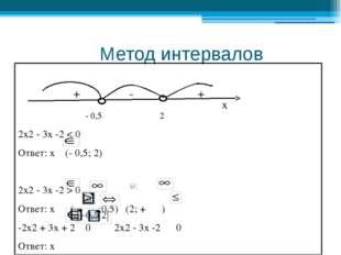 Метод интервалов + - + - 0,5 2 2х2 - 3х -2 < 0 Ответ: х (- 0,5; 2) 2х2 - 3х