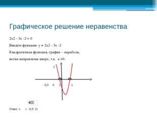 Графическое решение неравенства 2х2 - 3х -2 < 0 Введём функцию у = 2х2 - 3х -