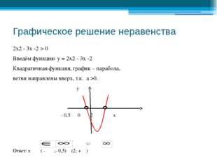Графическое решение неравенства 2х2 - 3х -2 > 0 Введём функцию у = 2х2 - 3х -