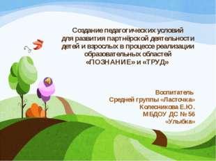 Создание педагогических условий для развития партнёрской деятельности детей и