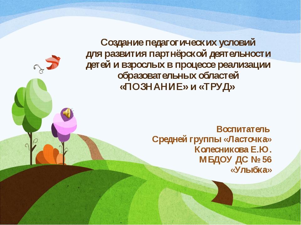 Создание педагогических условий для развития партнёрской деятельности детей и...