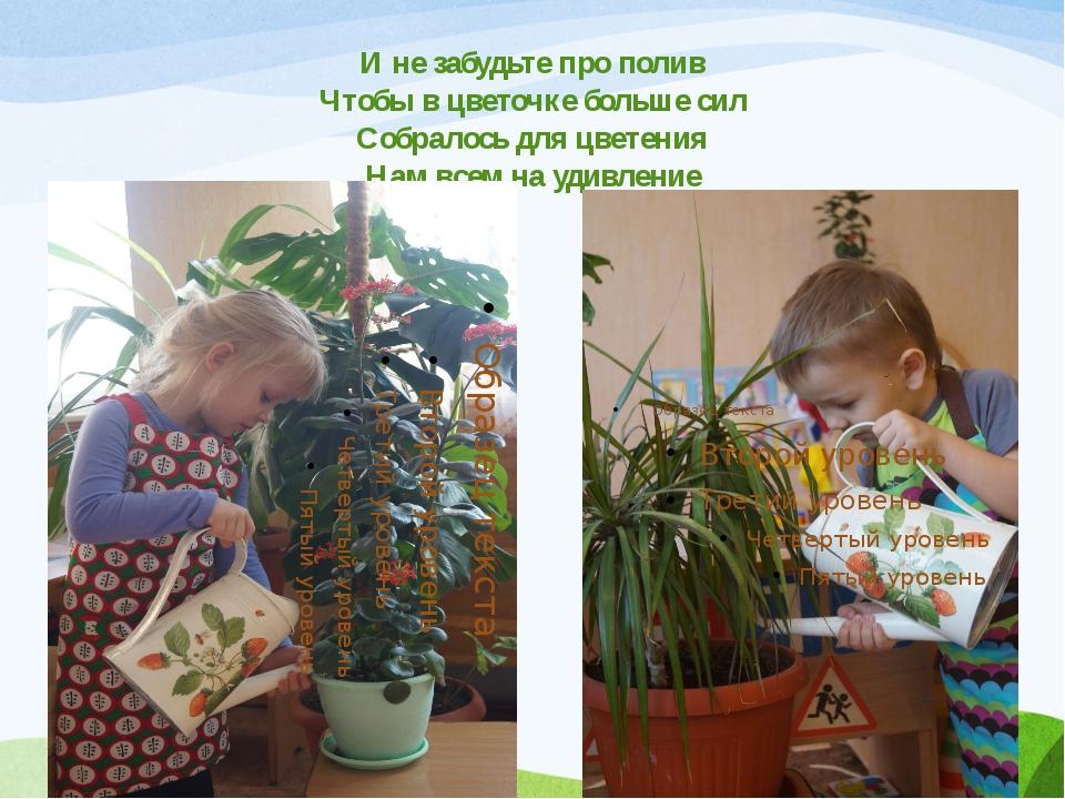 И не забудьте про полив Чтобы в цветочке больше сил Собралось для цветения На...