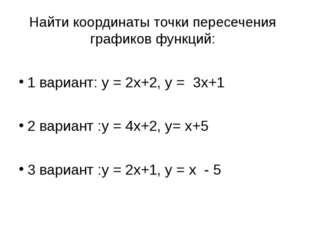 Найти координаты точки пересечения графиков функций:  1 вариант: y = 2x+2, y