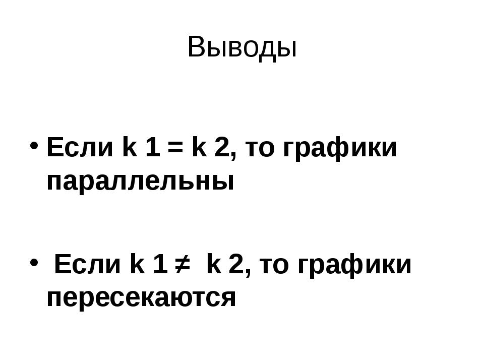 Выводы Если k 1 = k 2, то графики параллельны Если k 1 ≠ k 2, то графики пере...