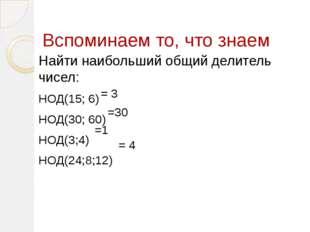 Вспоминаем то, что знаем Найти наибольший общий делитель чисел: НОД(15; 6) НО