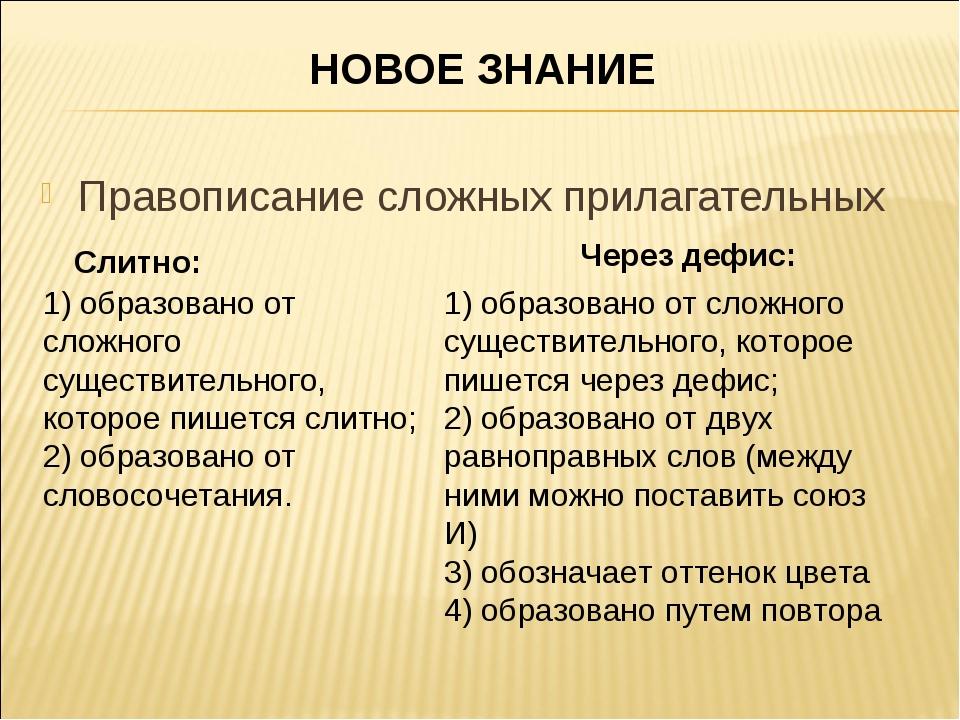 НОВОЕ ЗНАНИЕ Правописание сложных прилагательных Слитно: 1) образовано от сло...
