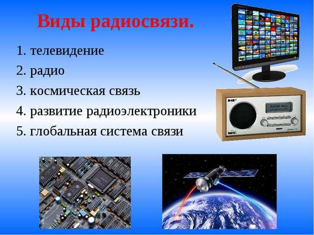 Виды радиосвязи. 1. телевидение 2. радио 3. космическая связь 4. развитие ра...