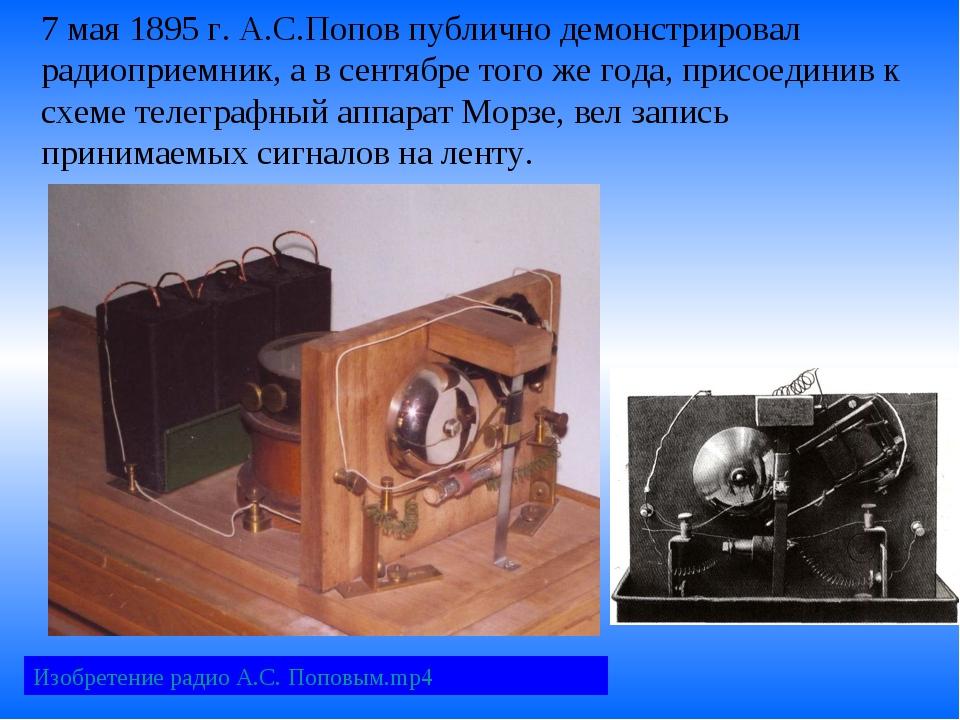 7 мая 1895 г. А.С.Попов публично демонстрировал радиоприемник, а в сентябре т...