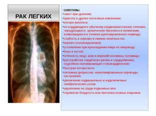 РАК ЛЕГКИХ СИМПТОМЫ: свист при дыхании; хрипота и другие голосовые изменения;