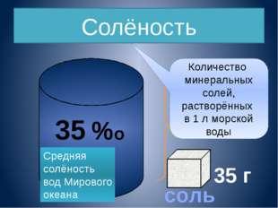 Единица измерения солености – промилле ( это тысячная доля вещества) обознача