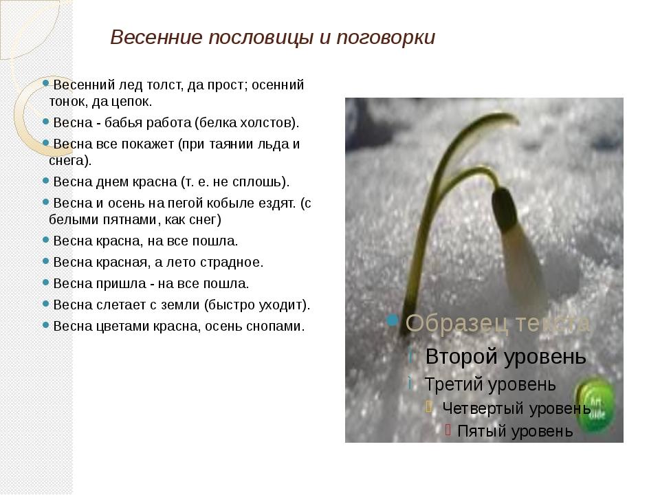 Весенние пословицы и поговорки  Весенний лед толст, да прост; осенний тонок,...