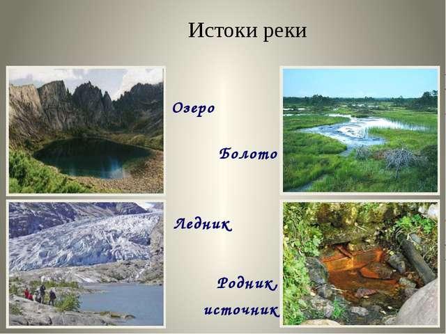 Озеро Болото Ледник Родник, источник Истоки реки