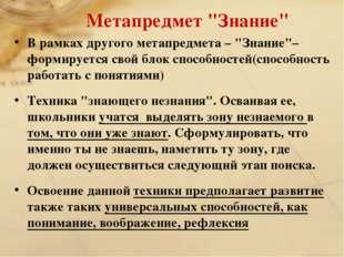 """Метапредмет """"Знание"""" В рамках другого метапредмета – """"Знание""""– формируется св"""